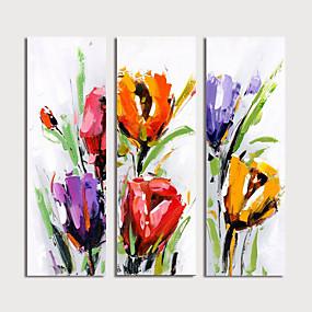 povoljno Slike za cvjetnim/biljnim motivima-Hang oslikana uljanim bojama Ručno oslikana - Cvjetni / Botanički Moderna Uključi Unutarnji okvir / Tri plohe
