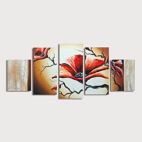 povoljno Slike za cvjetnim/biljnim motivima-Hang oslikana uljanim bojama Ručno oslikana - Cvjetni / Botanički Moderna Uključi Unutarnji okvir / Pet ploha