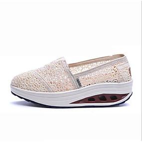 voordelige Damesinstappers & loafers-Dames Polyester Lente Loafers & Slip-Ons Platte hak Ronde Teen Zwart / Beige / Blauw
