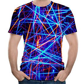preiswerte Herrenmode-Herrn 3D Übergrössen Baumwolle T-shirt, Rundhalsausschnitt Druck Königsblau / Kurzarm