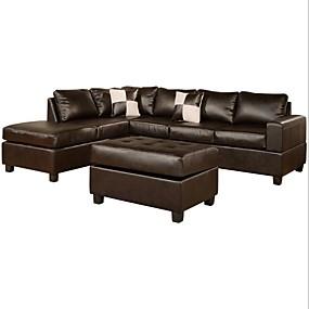 baratos Móveis-conjunto de sofá secional de couro sintético de toque reversível de 3 peças