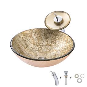 preiswerte Kitchen & Bathroom-Waschbecken für Badezimmer / Einbauring für Badezimmer / Wasserablass für Badezimmer Moderne - Hartglas Rundförmig Vessel Sink