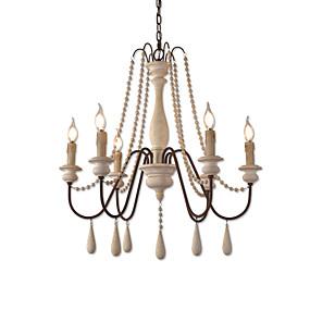 povoljno Lámpatestek-6 svjetla vintage luster / drvo privjesak svjetlo kafić rustikalna lampa za dnevnu sobu blagovaonica restoran svjetla / e12 / e14 bez žarulje