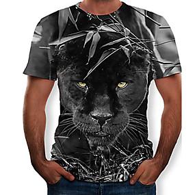 cheap Athleisure Wear-Men's T shirt Shirt Graphic 3D Animal Slim Tops Round Neck Black