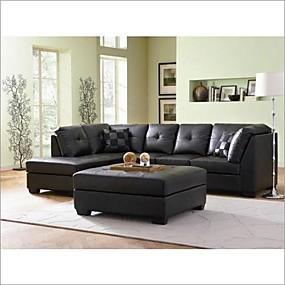 baratos Móveis-sofá secional de couro preto do falso com o chaise do lado esquerdo