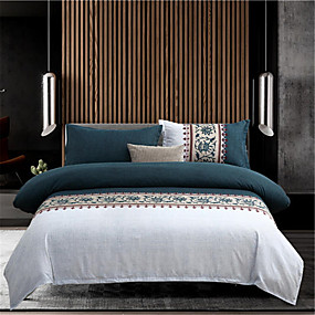 preiswerte Textilien für Zuhause-Bettbezug-Sets Solide / Zeitgenössisch Polyester Bedruckt 4 StückBedding Sets