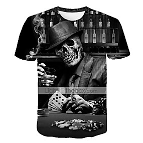 cheap Happy Halloween-Men's Street Plus Size T-shirt 3D Graphic Skull Print Short Sleeve Tops Exaggerated Round Neck Black / Summer