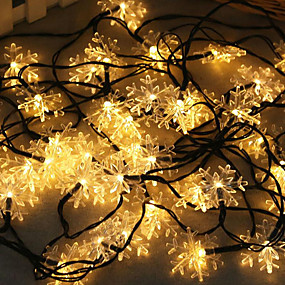 preiswerte Weihnachtsbeleuchtung-1 Satz LED Laterne Solar Lichterkette 10m 50 Licht Schneeflocke Weihnachten Schneeflocke im Freien wasserdichtes Licht Nachtlicht