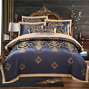 cheap High Quality Duvet Covers-Duvet Cover Sets 4 Piece Cotton Stripes / Ripples Dark Blue Jacquard Luxury Bedding Set With Pillowcase Bed Linen Sheet Single Double Queen King Size Quilt Covers Bedclothes