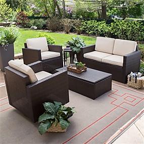preiswerte Outdoor-Sofas-4-teiliges Terrassenmöbel-Essgarnitur aus geflochtenem Harz für den Außenbereich mit 2 Stühlen, Loveseat und Kaffeetisch