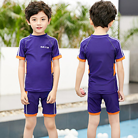 cheap Kid's-Boys' Two Piece Swimsuit Swimwear UV Sun Protection Quick Dry Short Sleeve 2-Piece - Swimming Patchwork Autumn / Fall Spring Summer / Winter / High Elasticity / Kid's