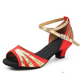povoljno Cipele i torbe-Žene Plesne cipele Saten Cipele za latino plesove Štikle Debela peta Braon / Crvena / Mornarsko plava / Seksi blagdanski kostimi / Koža / Vježbanje