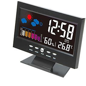 preiswerte Wecker-elektronische digitale lcd tischuhr temperatur luftfeuchtigkeit monitor uhr thermometer hygrometer wettervorhersage tischuhr