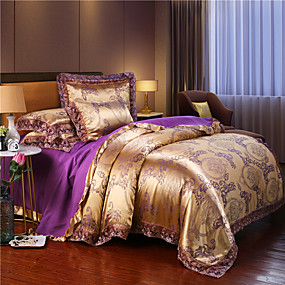 cheap High Quality Duvet Covers-Duvet Cover Sets European Lace satin jacquard Sheet 4 piece Bedding Set With Pillowcase Bed Linen Sheet Single Double Queen King Size Quilt Covers Bedclothes
