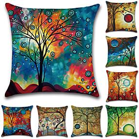 preiswerte Dekoration für Zuhause-8.0 Stück Baumwolle / Leinen Kissenbezug, Bäume / Blätter Grafik-Drucke Rustikal Retro Dekokissen