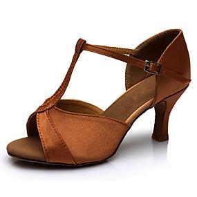 ราคาถูก Dance Shoes-สำหรับผู้หญิง รองเท้าเต้นรำ ซาติน ลาติน / Salsa รองเท้าแตะ ส้นแบบกำหนดเอง ตัดเฉพาะได้ สีน้ำตาล / ในที่ร่ม / หนังสัตว์ / EU40