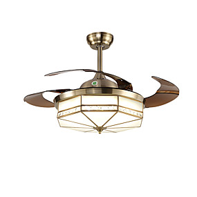 cheap Ceiling Fan Lights-1-Light QINGMING® 108 cm Mini Style / Tri-color Ceiling Fan Metal Circle / Mini Electroplated LED / Traditional / Classic 110-120V / 220-240V