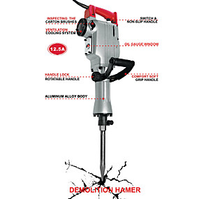 cheap Tools-Toolman Electric Demolition Hammer For Heavy Duty 12.5A with Point Flat Shovel