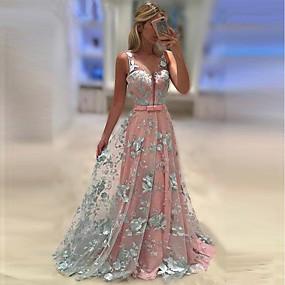 preiswerte The Wedding Store-- To Beautiful you-A-Linie Riemen Pinsel Schleppe Tüll Brautjungfernkleid mit Muster / Druck durch LAN TING Express