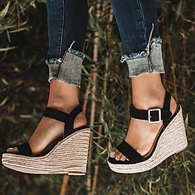 preiswerte Up to 70% off for women's shoes-Damen Sandalen Keilabsatz Offene Spitze Wildleder / PU Freizeit / Minimalismus Frühling & Herbst / Frühling Sommer Schwarz / Golden / Mandelfarben