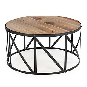 preiswerte Couchtische-Runder trommelförmiger Couchtisch aus Metall und Holz