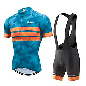 cheap Cycling & Motorcycling-21Grams Men's Short Sleeve Cycling Jersey with Bib Shorts Summer Blue+Orange Yellow Black Bike Clothing Suit Ultraviolet Resistant Quick Dry Breathable Back Pocket Sports Patterned Mountain Bike MTB