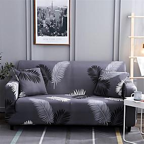 preiswerte Schonbezüge-Home Luxus Blätter drucken staubdichte Stretch-Schonbezüge Stretch-Sofabezug Superweiche Stoff-Couchbezug (Sie erhalten 1 Kissenbezug als Geschenk)