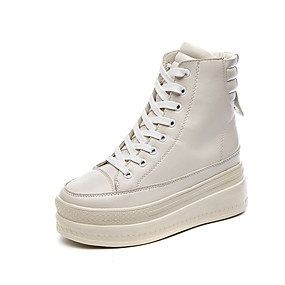 voordelige Damessneakers-Dames Sneakers Sexy Schoenen Creepers Ronde Teen Gesp Imitatieleer Informeel / minimalisme Lente zomer Wit / Zwart