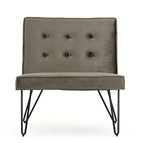 preiswerte Stühle-graue samtig weiche gepolsterte Polyester Akzent Stuhl schwarz Metallbeine