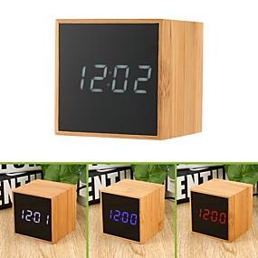 preiswerte Neu Eingetroffen-holztisch wecker usb&Ampere; batteriebetriebene sprachgesteuerte Desktop-Uhr mit großer LED-Anzeige für die digitale Temperaturanzeige