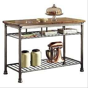 preiswerte Küche- und Esszimmermöbel-Klassischer französischer Hartholz-Metzgerblock-Küchentisch aus Metall