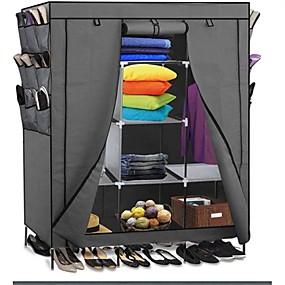 preiswerte Aufbewahrungs-Organizer-grau 69-Zoll-Schrank Veranstalter Schuhschrank Schlafzimmer Kleiderschrank
