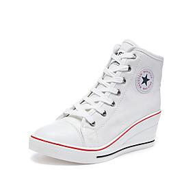 voordelige Damessneakers-Dames Sneakers Comfort schoenen Sleehak Ronde Teen Canvas Informeel / minimalisme Lente zomer Rood / Blauw / Roze