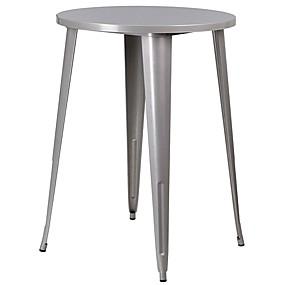 preiswerte Barhocker-30-Zoll-Cafébar-Terrassentisch aus Metall in Silber für den Außenbereich