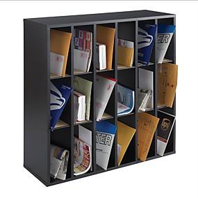preiswerte Aufbewahrungsmöglichkeiten-Briefhalter-Organizer aus Holz mit 18 Fächern in Schwarz