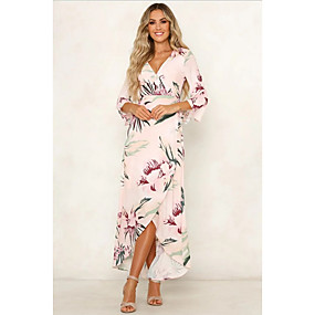 preiswerte Damenbekleidung-Damen A-Linie Kleid Blumen Maxi