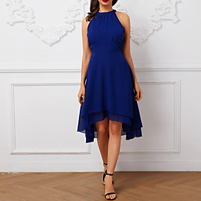 preiswerte This Summer You Are The Most Fashionable-Damen Ausgehen Sexy Chiffon Kleid - Mehrlagig, Solide Knielang Halter