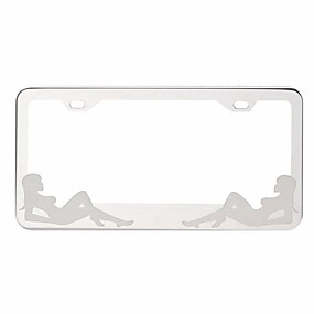 cheap Car Front Grille Decoration-Tirol Car Girl Drawing License Plate Frame Stainless Steel Polished Metal Tag Cover 31.5*13.5cm