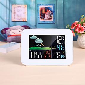 preiswerte Neu Eingetroffen-drahtlose bunte LCD-Barometer Alarm Mond Wetterstation in / Außentemperatur Luftfeuchtigkeit Wettervorhersage Temperatur Luftfeuchtigkeit