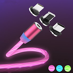 cheap Cables & Chargers-Magnetic Flow Luminous LED Light USB Charger Cable For iPhone Xs Max Micro Type C Charge A50 A70 P30 Cord Fast Charging Magnet