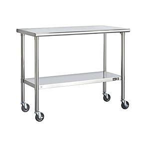 preiswerte Küche- und Esszimmermöbel-Edelstahl-2-Fuß-Kücheninselwagen-Zubereitungstisch mit Rollen