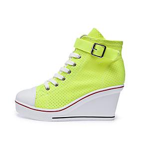 voordelige Damessneakers-Dames Sneakers Sexy Schoenen Sleehak Ronde Teen Netstof Informeel / minimalisme Lente zomer Fuchsia / Rood / Groen