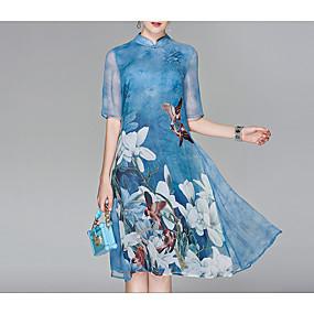 preiswerte Letzter Aufruf für Sommer-Sparangebote-Damen Ausgehen Chinesischer Stil Chiffon Kleid - Druck, Blumen Midi Ständer