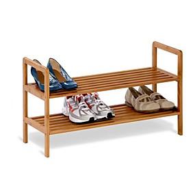preiswerte Aufbewahrungs-Organizer-2-stufiges Schuhregal aus Bambus - für 6 bis 8 Paar Schuhe