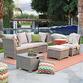 baratos Móveis-grupo de conversação ao ar livre natural da mobília do pátio da resina da resina de vime