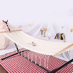preiswerte Sport & Outdoor-Campinghängematte Außen Schnelles Trocknung Dekoration Einstellbare Flexible Hanfseil Reine Baumwolle mit Karabinern und Baumgurten für 1 Person Weiß 200*80 cm