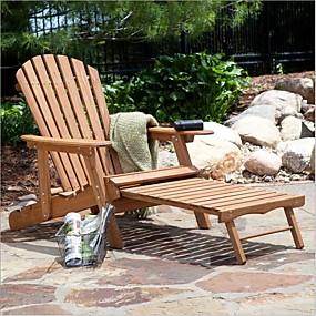 preiswerte Outdoor-Hocker-übergroßer klassischer adirondack stuhl mit ausziehbarer ottomane in natur