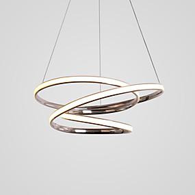 povoljno Lámpatestek-omotan troslojni prsten kromirani luster za dnevni boravak