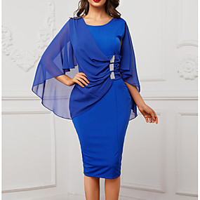preiswerte This Summer You Are The Most Fashionable-Damen Schlank Hülle Kleid Solide Knielang