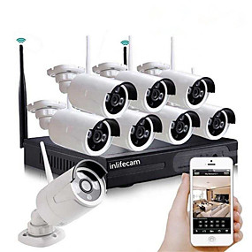 cheap DVR Kits-8CH 720P HD Waterproof Plug and Play Wireless NVR Kit Security System Wifi Ip Kit